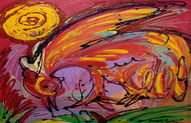 Ao Raiar do Dia,acrílica e corante sobre tela (Viriato Moura)