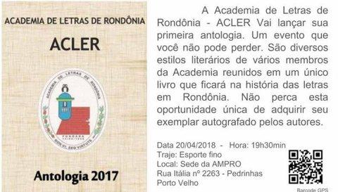 ACLER LANÇA ANTOLOGIA - Por Ciro Pinheiro