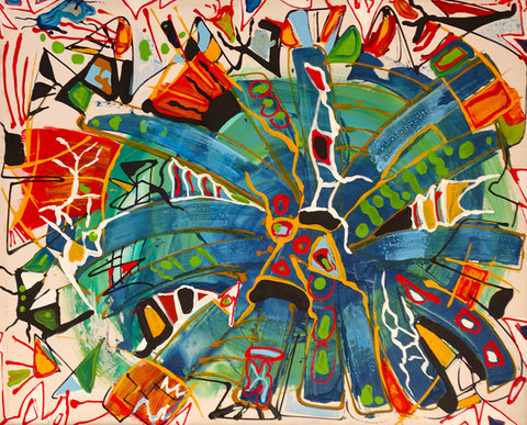 Explosão Criativa, acrílica e corante sobre tela (Viriato Moura)