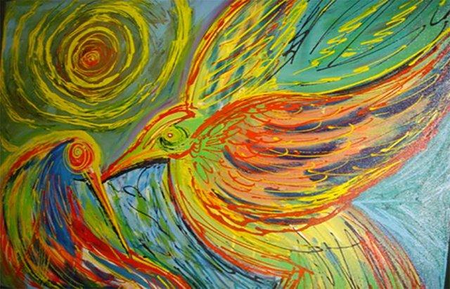 Voo do Amor, acrílica e corante sobre tela (Viriato Moura)