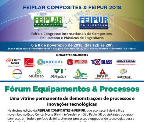 Participe do Fórum Equipamentos & Processos na FEIPLAR COMPOSITES & FEIPUR 2018