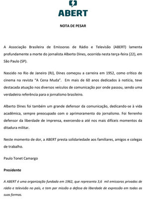 NOTA DE PESAR - Alberto Dines