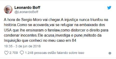 "Leonardo Boff diz que a ""hora de Sergio Moro"" vai chegar"
