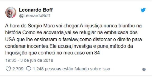 """Leonardo Boff diz que a """"hora de Sergio Moro"""" vai chegar  - Gente de Opinião"""