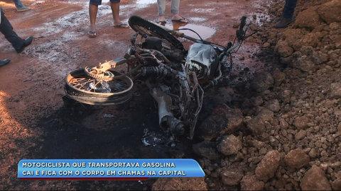 Motociclista cai de motocicleta e tem corpo em chamas (VÍDEO)