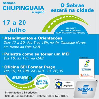 Empresários de Chupinguaia receberão orientações do Sebrae com palestra e oficina