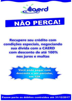 CAERD realiza campanha para recuperação de crédito junto aos seus consumidores