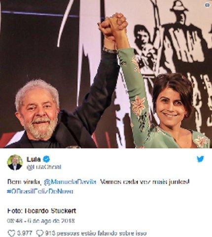 Lula: bem-vinda, Manuela. Vamos cada vez mais juntos - Gente de Opinião