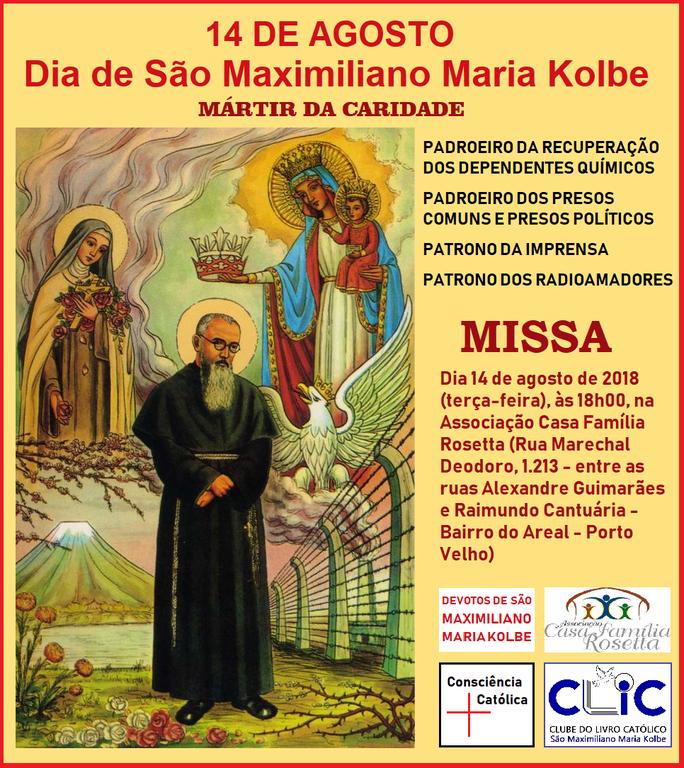 Dia de São Maximiliano Kolbe terá missa em Porto Velho - Gente de Opinião