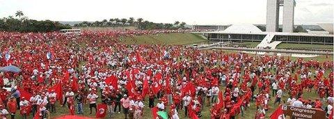 Bancários se manifestam em Brasília em defesa de bancos públicos