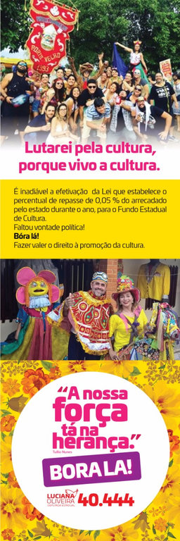 Luciana Oliveira se compromete a lutar pela efetivação da lei que garante repasse mínimo do orçamento ao Fundo Estadual de Cultura  - Gente de Opinião