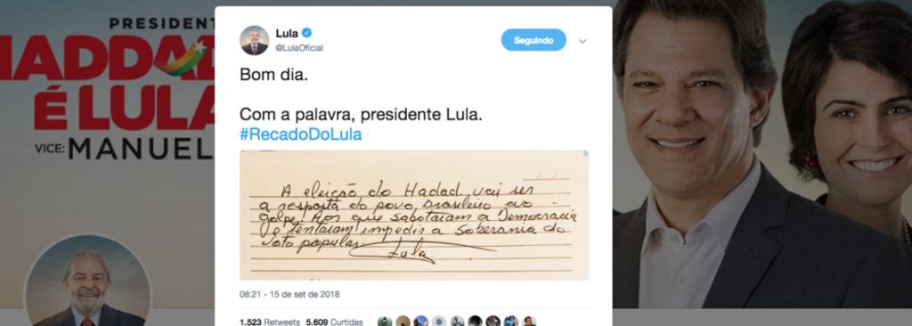 Lula divulga bilhete e diz que eleição de Haddad será resposta do povo ao golpe - Gente de Opinião