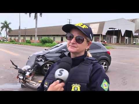 Colisão de motociclista com veículo na BR 364 (VÍDEO)