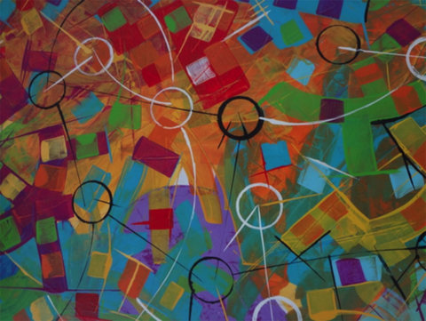 Ciclos da Vida, acrílica sobre tela (Viriato Moura)