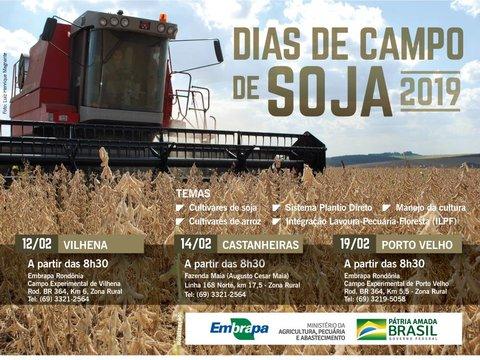 Embrapa inicia Dias de Campo de Soja 2019 em Rondônia no dia 12 de fevereiro