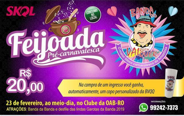 Feijoada pré-carnaval da Banda do Vai Quem Quer acontece dia 23 de fevereiro - Gente de Opinião
