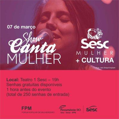 Projeto Sesc Mulher promove um mês inteiro de atividades alusivas ao Dia Internacional da Mulher