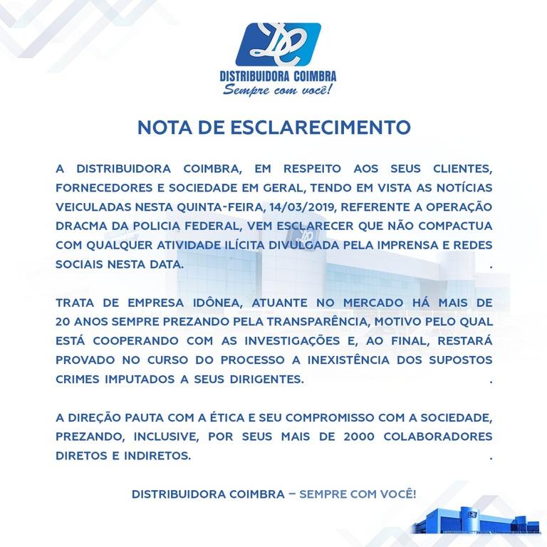 Nota de Esclarecimento - Distribuidora Coimbra - Gente de Opinião
