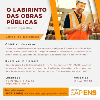 Faculdade Sapiens abre inscrições para curso de extensão sobre Obras Públicas