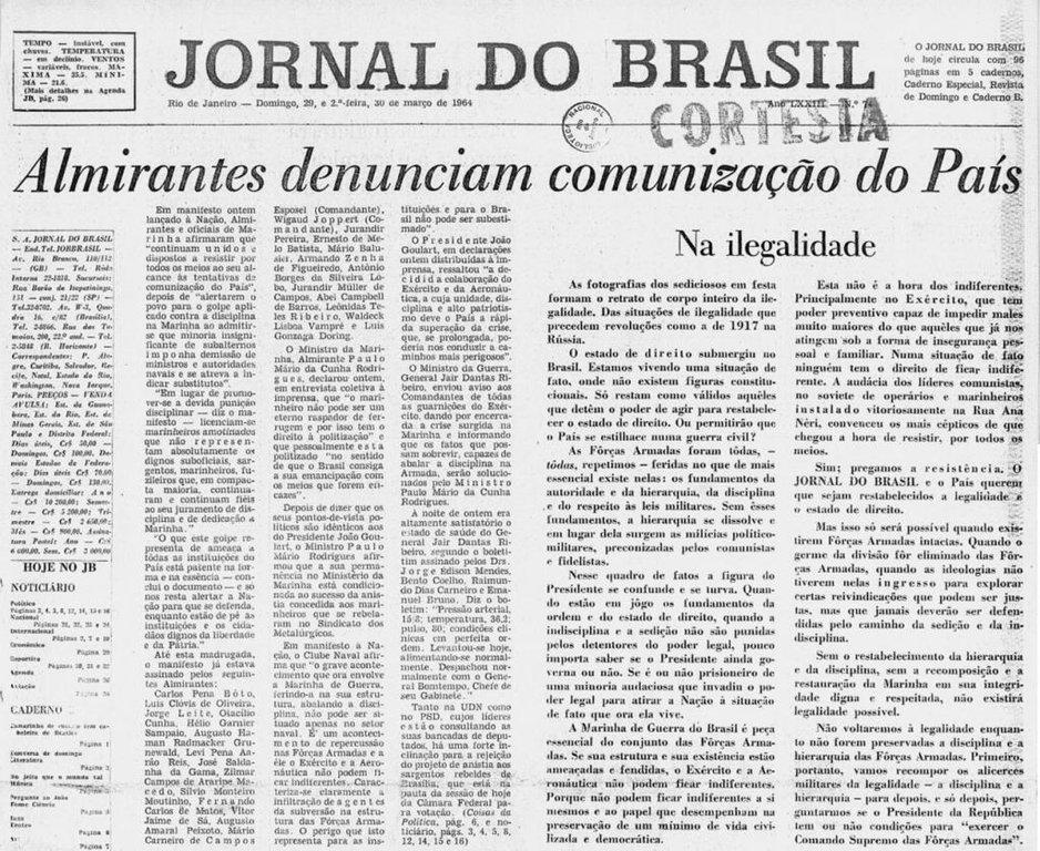 31 de março de 1964 (Parte I) - Almirantes Denunciam Comunização do País - Gente de Opinião