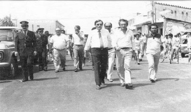 Governador Ângelo Angelim e Tomás Correia caminham; atrás, Jerônimo Santana e Orestes Muniz - Gente de Opinião