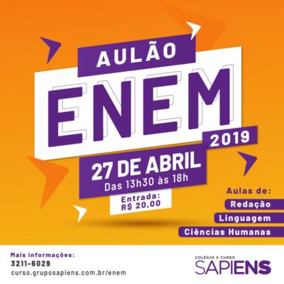 Enem 2019: Curso Sapiens realiza Aulão de Redação, Linguagens e Ciências Humanas