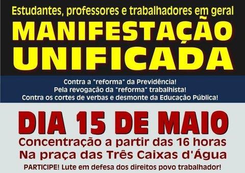 Rondônia terá paralisação e protesto em dia de mobilização nacional pela educação