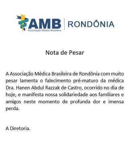 AMB - Rondônia : Nota de Pesar - Gente de Opinião