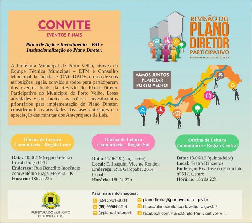 Eventos finais para revisão do Plano Diretor acontecem neste mês de junho, em Porto Velho - Gente de Opinião