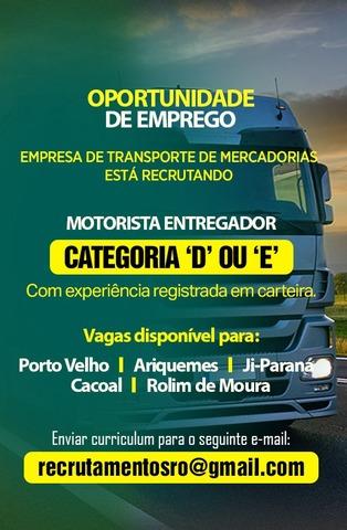 Empresa de Transporte de Mercadorias está recrutando motorista entregador urgente - Gente de Opinião