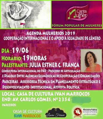 Casa de Cultura Ivan Marrocos recebe palestra sobre Cooperação Internacional e apoio as ações de gênero no Brasil