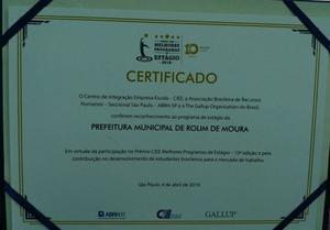 Prefeitura de Rolim de Moura recebe Prêmio Melhores Programas de Estágio  - Gente de Opinião