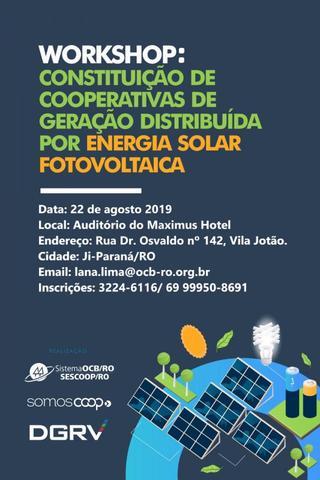 Inscrições abertas para o Workshop sobre Constituição de Cooperativas de Geração distribuída por Energia Solar Fotovoltaica  - Gente de Opinião