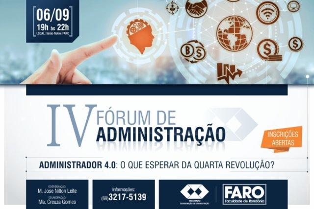 Inscrições abertas para o IV Fórum de Administração da FARO - Gente de Opinião