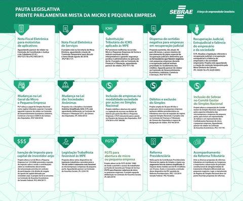Sebrae e Frente Parlamentar da MPE definem 15 projetos como prioridade de votação no Congresso