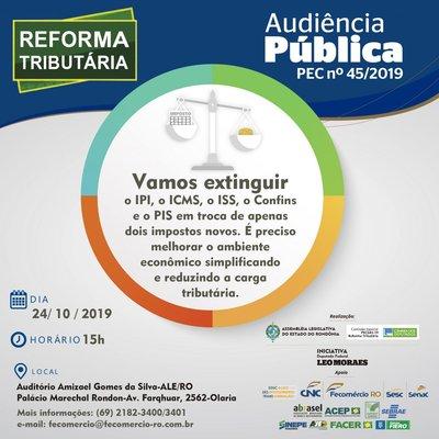 Audiência Pública que discutirá reforma tributária acontece nesta quinta-feira na ALE/RO