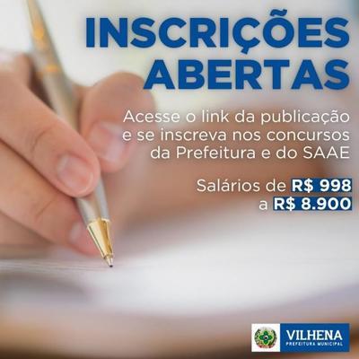 Vilhena: concurso da Prefeitura e Saae já têm mais de 20 mil inscritos: prazo acaba dia 24