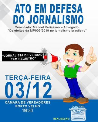 Medida que extingue registro profissional de jornalistas será tema de debate na Câmara Municipal de Porto Velho