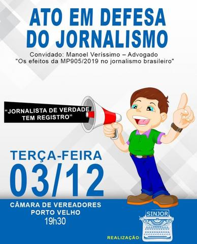 Medida que extingue registro profissional de jornalistas será tema de debate na Câmara Municipal de Porto Velho - Gente de Opinião