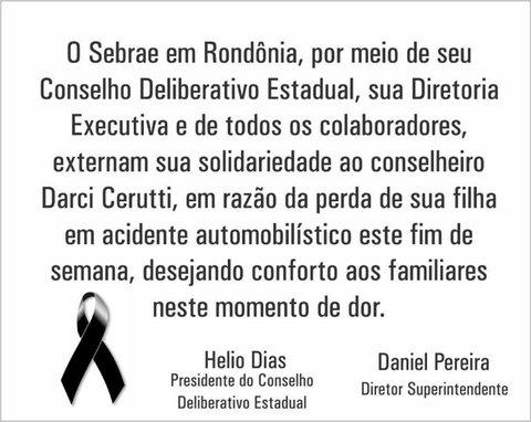 Nota de Pesar do Sebrae em Rondônia pelo falecimento da jovem Laysa Cerutti